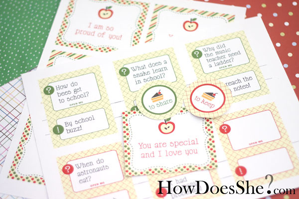 Free printable school lunch notes, jokes & more!