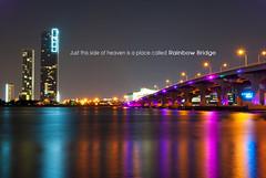 Rainbow Bridge (pablomendo) Tags: rainbow miami rainbowbridge mcarthur caseway flickraward miamilights donwtownmiami miamibuilding elitegalleryaoi lomejordemisamigos mcarthurcausewa bridgemiami miami5th