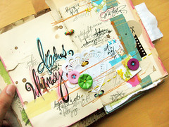 Summer Of Love - Art Journal (Michelle Alynn) Tags: blue orange yellow writing handwriting vintage scrapbooking photo colorful bright handmade lace buttons sewing crochet journal yarn alteredbook bookbinding sewn artjournal oldbook summeroflove handstitching classsample karahaupt
