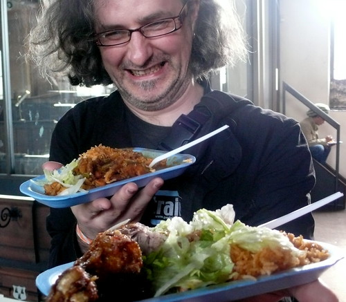 Steve holds the fretless chicken