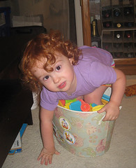 Speck standing in a bucket full of bristle blocks