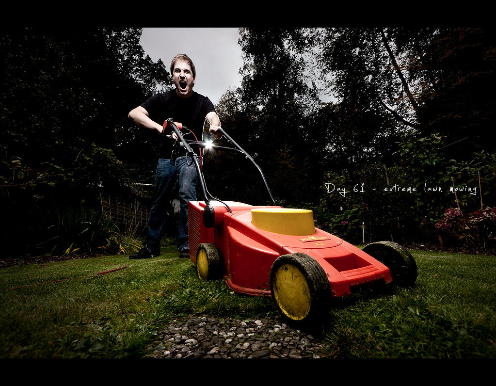 extreme lawn mowing, Day 61, 061/365, Project 365, grass, strobist, Self Portrait