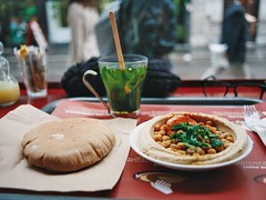Hummous (Kym Ellis) Tags: london film 35mm canon lunch kodak ae1 soho cumin pitta hummous chickpeas minttea nom hummusbros