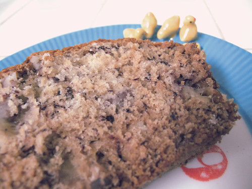 Banana Bread on a cute plate.