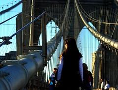 Sister on the bridge... (__AK__) Tags: newyork car taxi brooklynbridge pont