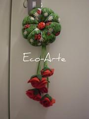 Chaveiro flor com flores vermelhas... (eco-arte) Tags: flowers flores key tissue felt botão feltro locksmith joaninha chaves margaridas chaveiro algodão retalho reutilização reaproveitamento caveiro