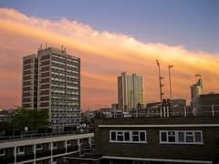 Band Of Gold (godoftosh) Tags: street old city pink light sunset orange cloud reflection london yellow glow brunswick shoreditch hoxton streaks