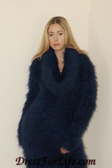 Midnight Blue Fuzzy Mohair Cowl Neck Dress (dressforlife.com) Tags: sweater dress fuzzy handmade mohair handknitted cowlneck dressforlifecom