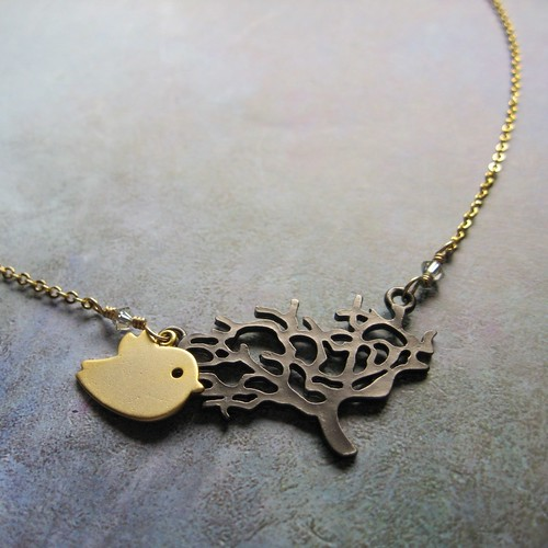 tree_bird heart necklace_Gunmetal Tree and Golden Bird Necklace