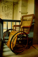 muse (Greg Foster Photography) Tags: county old history abandoned halloween museum ga vintage hospital georgia scary chair echoes antique decay balcony wheelchair echo rusty eerie spooky medical forgotten jail horror historical weathered winder wicker abandonment decayed barrow 2010 echos