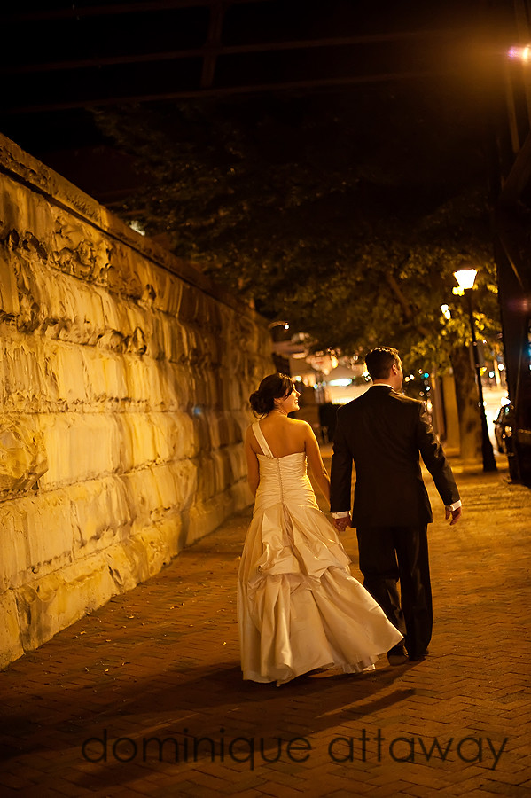 newly weds walking at night