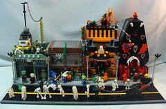Halloween Street 2 (notenoughbricks) Tags: street plants halloween skeleton dragon lego witch wizard vampire garage ghost alien dracula frankenstein bats legotown maneatingplant legocity legomoc legocollectibleminifigures