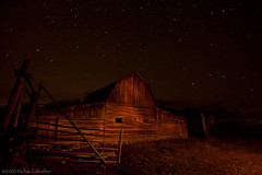 Moulton Barn l (Dick Shaffer) Tags: sky night barn buildings dark stars star oldbuildings tetons starry