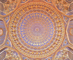 The Illusionary Dome (**El-Len**) Tags: architecture gold ceiling dome silkroad uzbekistan centralasia samarkand islamic tilework samarqand fav10 medressa tillakari