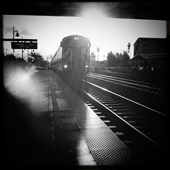 A brand new day: Good Days Give us happiness..Bad days give us Experience. (ShanLuPhoto) Tags: morning light bw train caltrain lawrence iphone4 august2011 iphoneography hipstamatic