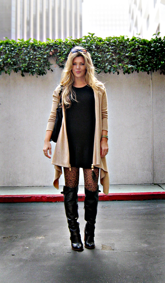 leather boots+leopard tights+sweater dress+cat eye sunglasses+blonde hair+light+sharp