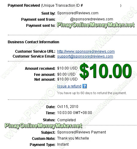 Sponsored Reviews Payment Proof - $10.00 on October 15, 2010 - PinayOnlineMoneyMaker.net