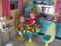 Please, just finish your meal.... (Retro Mama69) Tags: kitchen vintage puppy table miniature chairs retro marx shelves remcodoll roombox rements vintagetintoy miniaturekitchen prettymaid toydiorama pennybritedoll tuttidoll kitchendiorama metalkitchentoy 1950ss yellowandturquoisekitchen