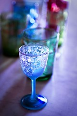 Captured Light (Ginny Griffin) Tags: light cup glass glasses pattern captured tabletop lineup theblues