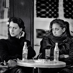 Sadness ......(or the girl with the Coca Cola eyes :) (fifich@t ~ very BUSY during the week . Sorry ;() Tags: street people blackandwhite bw woman paris france square candid streetphotog