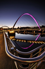 AN ARRANGEMENT OF CURVES (Michael Halliday) Tags: uk reflections nikon tyne millenniumbridge gateshead tynebridge newcastleupontyne quayside tynewear d90 balticquays newcastlegateshead sigma1020