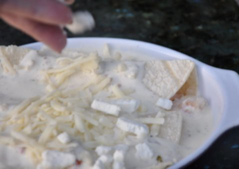 seafood enchiladas with cream sauce and goatcheese