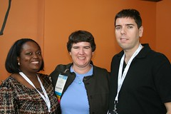 Tinu, Becky McCray and Andy Hayes at Blogworld 2010 by ShashiBellamkonda, on Flickr