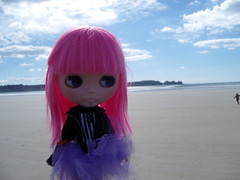 Ham and her tiny Mummy, beach by Kerloch, Finistère, France, September 2010