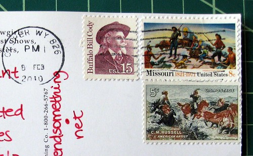 Cowboy stamps for a cowboy postcard