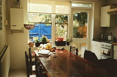 Good Morning (Adele M. Reed) Tags: morning light london film kitchen 35mm table still kodak 200 blinds analogue lovely dalston hangingbasket peckam nikonl35af