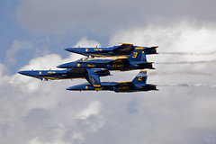 Jumble Of Jets (goincarcrazy) Tags: show blue sky station yellow angel clouds plane fly flying air jet angels jacksonville hornet f18 naval duval 2010 beoing