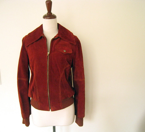 Rusty Suede Bomber Jacket, Vintage 70's