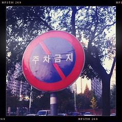 No Parking (zappy_lunch) Tags: city autumn urban signs fall october asia parking korea 1x1 2010 suwon yeongtong hipstamatic helgavikinglens pistilfilm