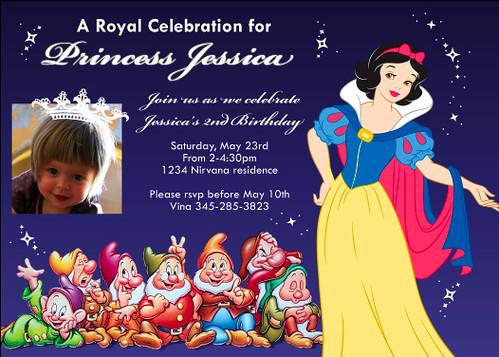 Snow white seven dwarfs disney princess custom birthday invitation snow white seven dwarfs disney princess custom birthday invitation filmwisefo