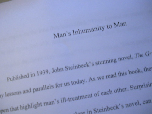 mans inhumanity to man essay Of wrath and what it means perfect for acing essays, tests, and quizzes, as  well as for writing lesson plans  man's inhumanity to man steinbeck  consistently.
