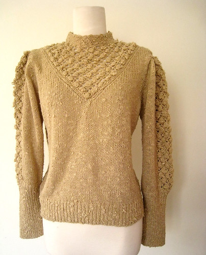 Nubby Knit Wheat Brown Sweater, 1970's