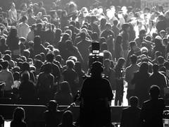Give him a big hand! (JasperYue) Tags: city light people bw music white black monochrome standing concert shadows mr head persons taichi 2011 alantam 譚詠麟 joeltang 太極樂隊