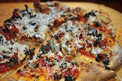 Mmm...pizza! mushrooms, olives, asiago cheese