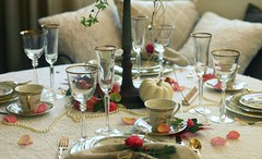 Setting the Table (:KayEllen) Tags: china thanksgiving autumn table petals lace details pearls scape decor tabletop lenox goblets