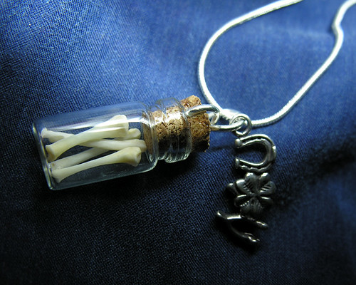 Small Glass Vial Pendant: Mammal Bones & Lucky Charm