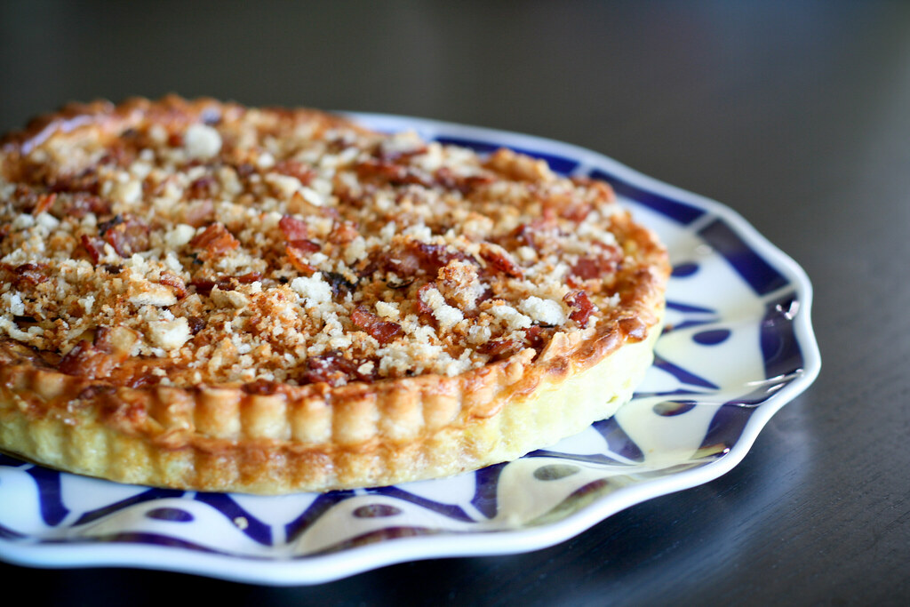 Leek & Gruyere Quiche with Bacon Breadcrumbs