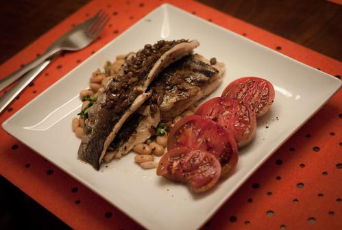Grilled Rainbow Trout with White Beans, Arugula and Caper Vinaigrette; Heirloom Tomato Salad