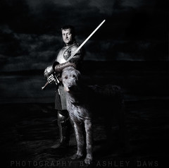 One knight and his dog (Ashley Daws) Tags: ocean new sea portrait irish cliff dog water composite photoshop dark moody manipulation lord lotr rings zealand fantasy nz sword knight warrior mystical hunter hobbit ages wolfhound strobist artlibres armouor