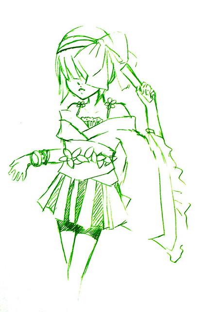 绿色植物铅笔手绘