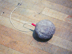 Joseph Beuys, Table with Accumulator detail with clay ball