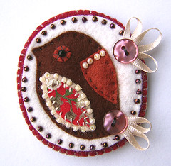 Christmas robin brooch (buttercup boutique) Tags: christmas bird robin festive pin handmade brooch badge