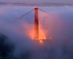Fogged In (Brad-Miller) Tags: ocean sf california longexposure bridge red sky white mountains water weather northerncalifornia fog clouds lights oakland bay interestingness interesting flickr view purple dusk goldengatebridge goldengate bayarea roads marinheadlands fogbank sanfrancsisco