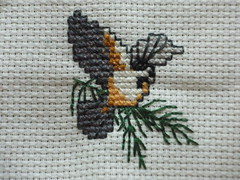 Black Capped Chickadee Cross Stitch
