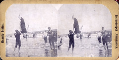 (Stereoview) Backflip at the Beach (early 1900s?) (Thiophene_Guy) Tags: blackandwhite bw history beach water monochrome swim stereogram 3d newjersey surf 19thcentury nj wave stereo atlanticcity stereoview midair bathing parallax airborne bathingsuit breaker 1900s backflip suspendedinair circa1900 intotheair derivativeworks stereophotomaker hanginginair stereoscopesamusantes beautyseries imagescannedbythiopheneguy
