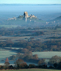 Corfe from Kingston (Tony Gill) Tags: mist heritage history landscape ruins dorset nationaltrust purbeck corfecastle